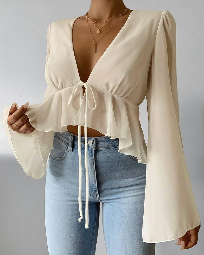 Solid Bell Sleeve Ruffles Blouse thumbnail