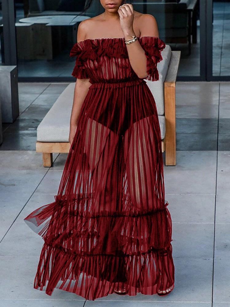 boutiquefeel / Off Shoulder Sheer Mesh Maxi Dress