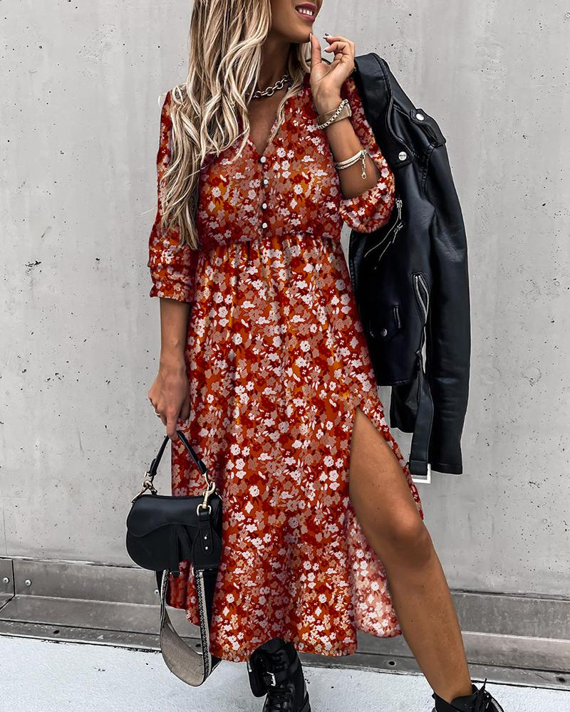 Button Design Floral Print High Slit Maxi Dress thumbnail