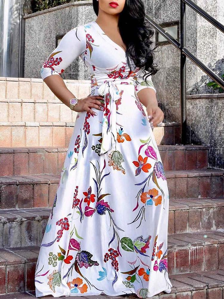 2f578338b3b Low Cut Belted Floral Print Maxi Dress Online. Discover hottest ...