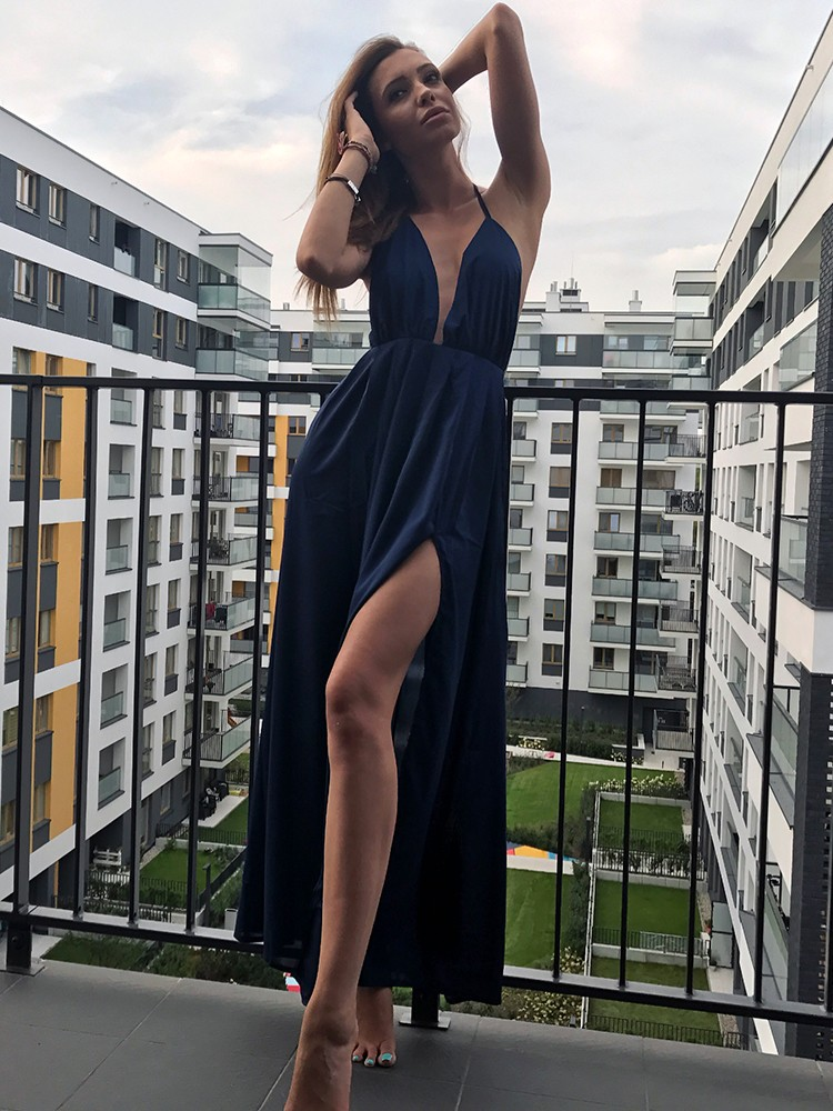 1a6efdbad7a Stylish Crisscross Open Back High Slit Maxi Dress