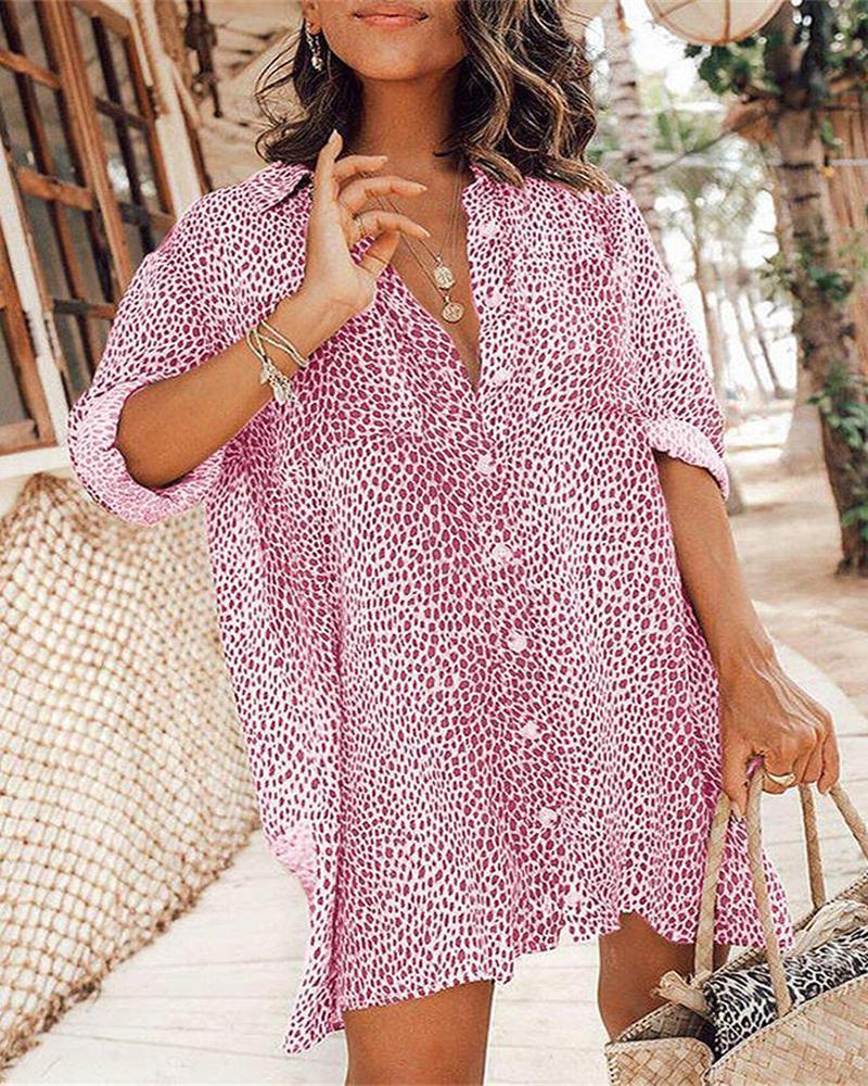 ivrose / Cheetah Print Button Front Women Shirt Dress
