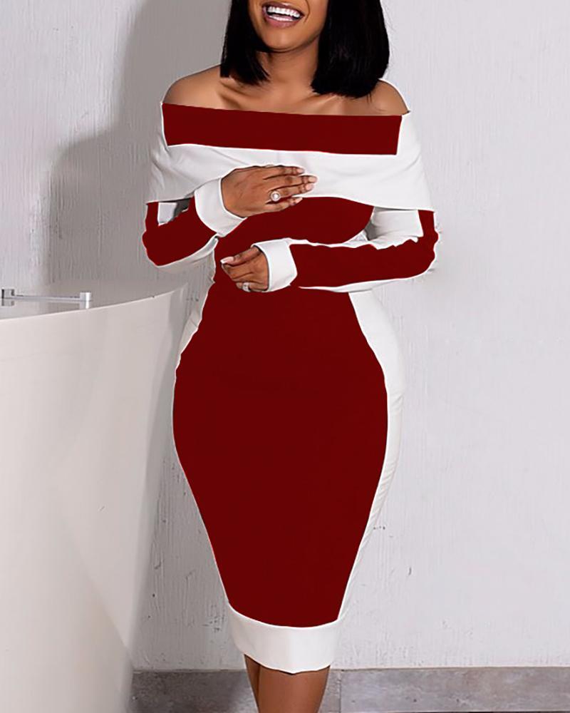 Colorblock Off Shoulder Long Sleeve Dress thumbnail