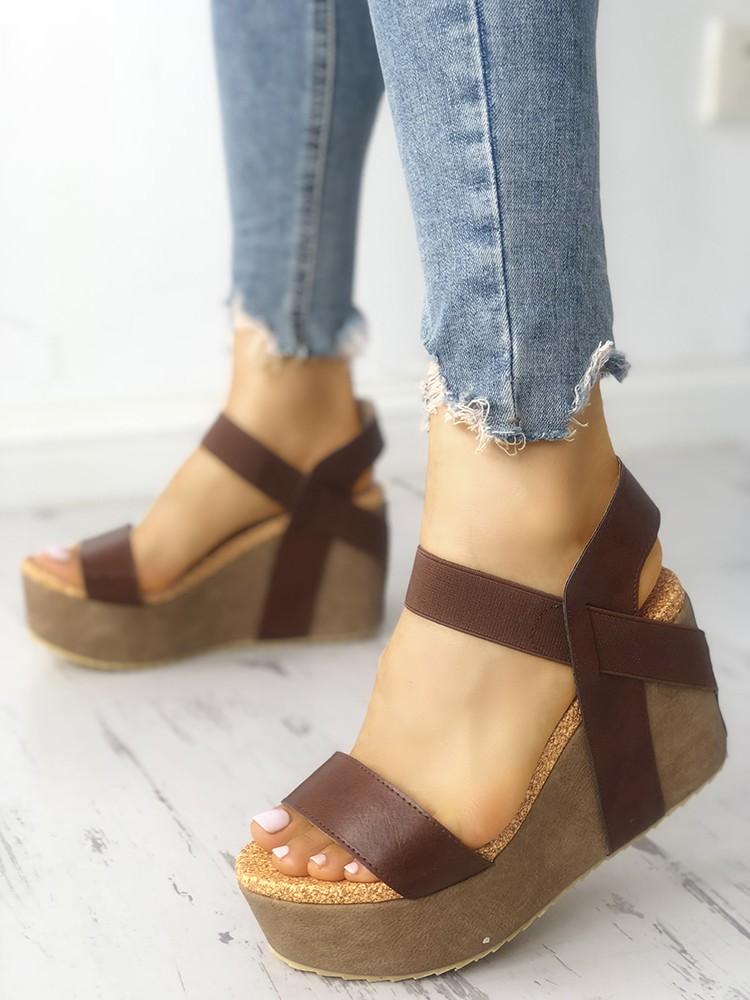 Street Style Single Strap Platform Wedge Sandals