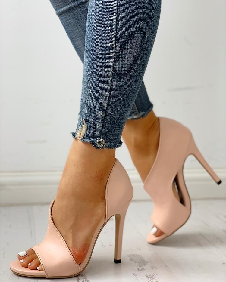 45d7788efaa PU Cutout Peep Toe Thin Heeled Sandals Fashion in 2019 Heels