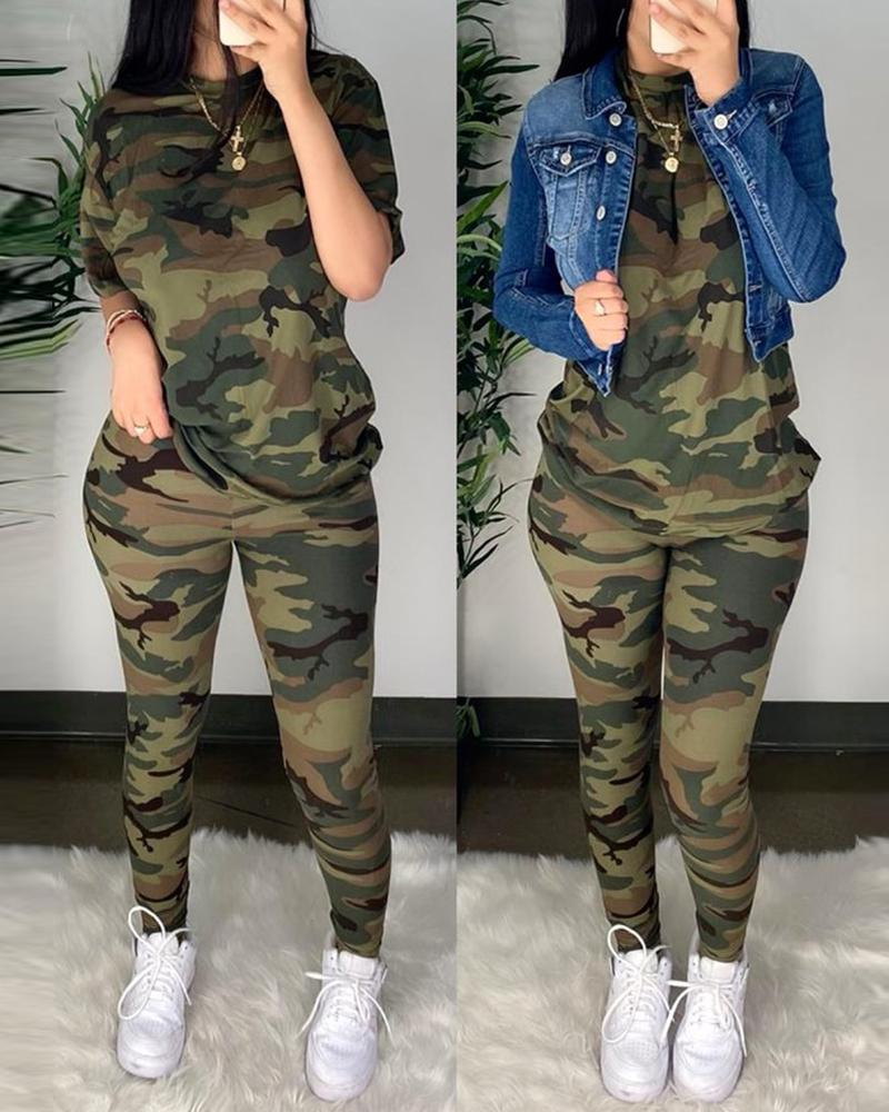 Camouflage Half Sleeve Top & Fitted Pants Set