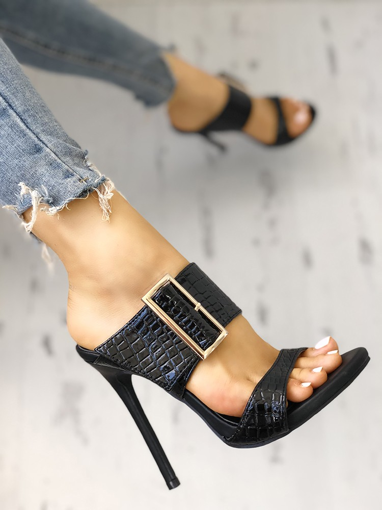 boutiquefeel / Solid Snakeskin Buckled Thin Heeled Sandals
