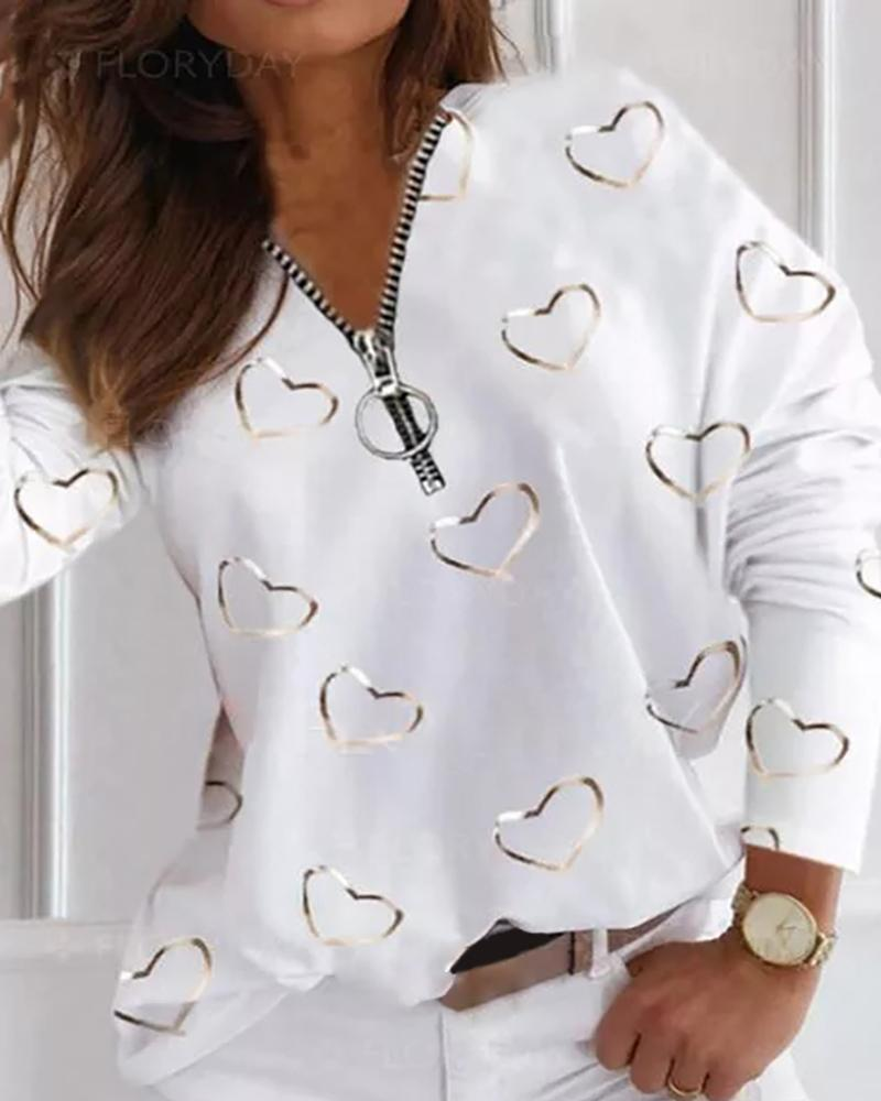 Heart Print Zipper Design Long Sleeve Top