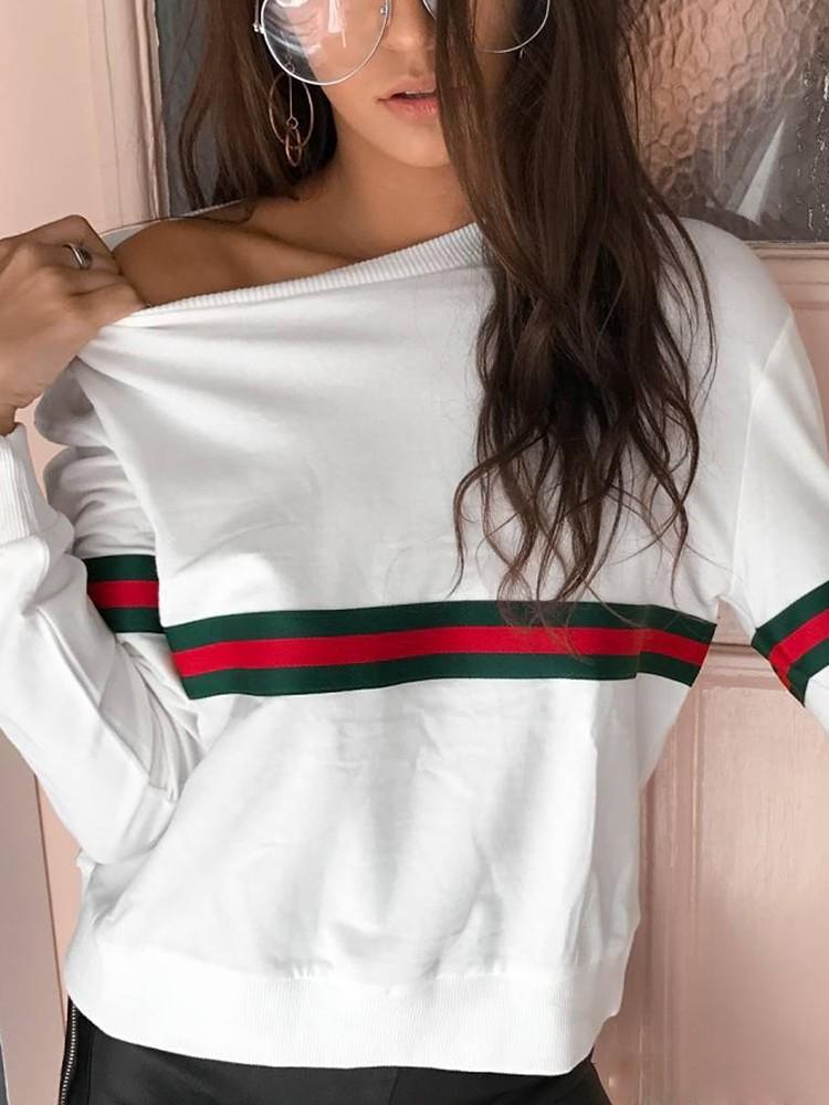 Fashion Stripe Print Casual Sweatshirt