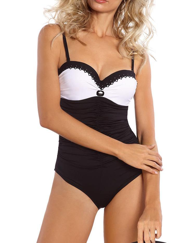 Spaghetti Strap Colorblock Ruched One-Piece Swimsuit
