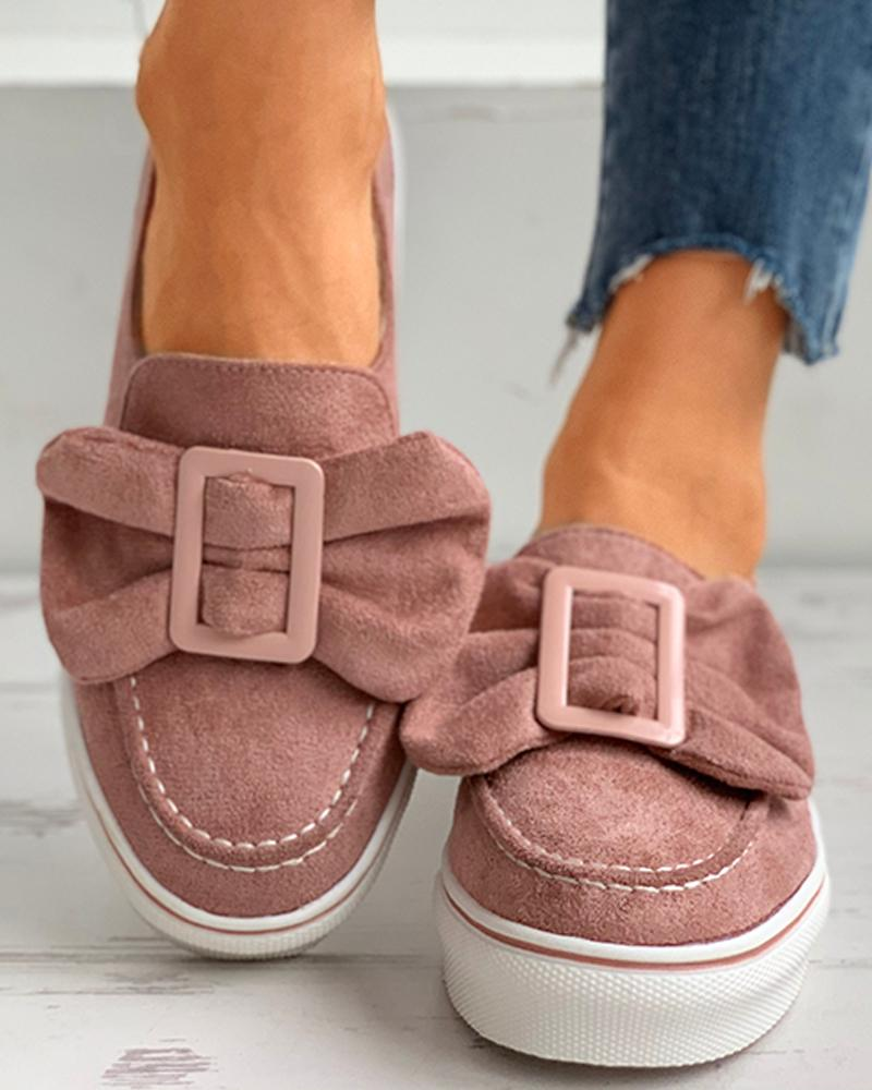 Bowknot Decor Buckled Casual Shoes thumbnail