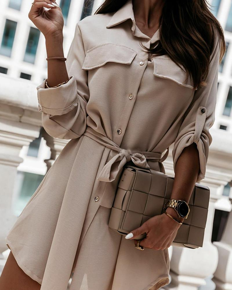 Solid Long Sleeve Loose Lace-up Waist Shirt Dress thumbnail