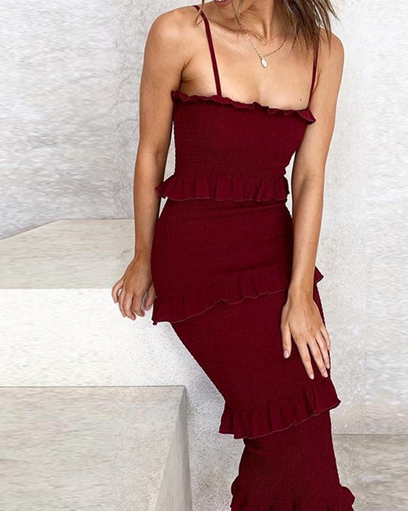 Solid Tiered Bodyon Midi Dress thumbnail