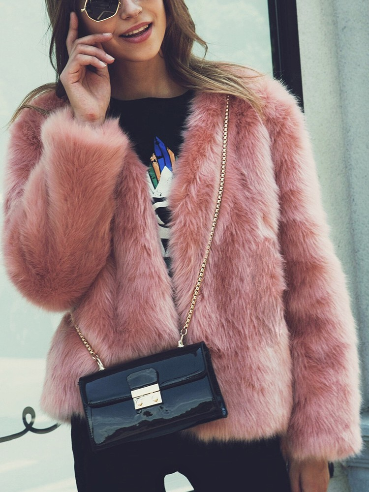 Fluffy Faux Fur Open Front Coat