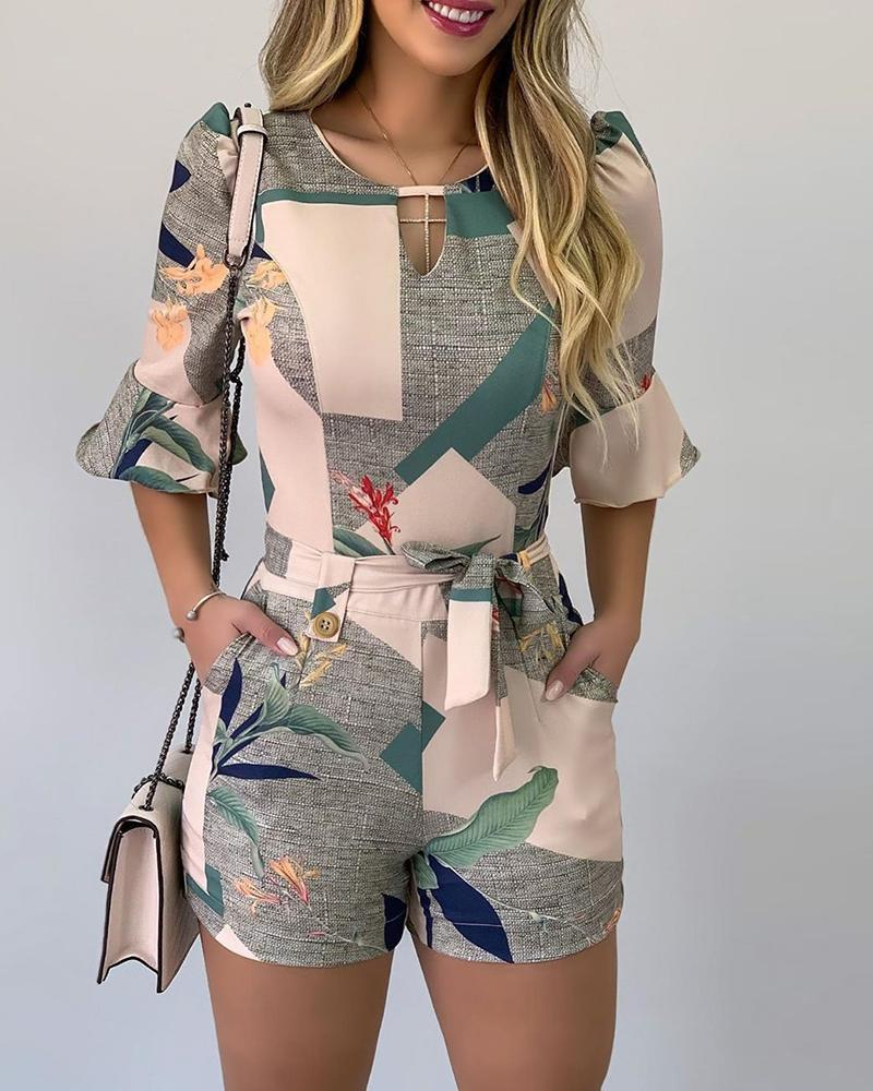 Leaf Print Colorblock Cutout Front Bell Sleeve Romper