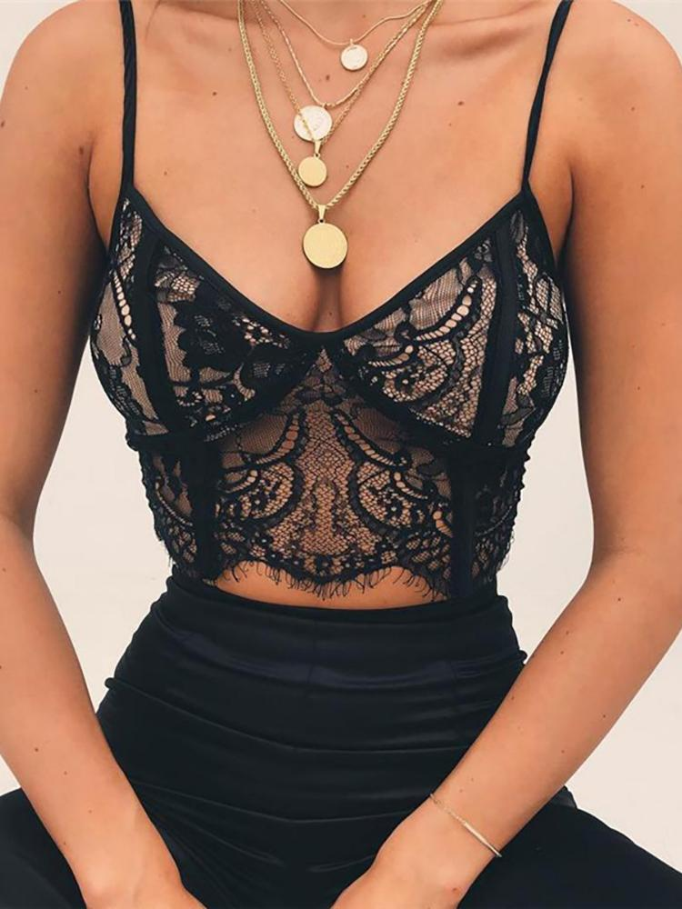 boutiquefeel / Eyelash Lace See Through Bra Top