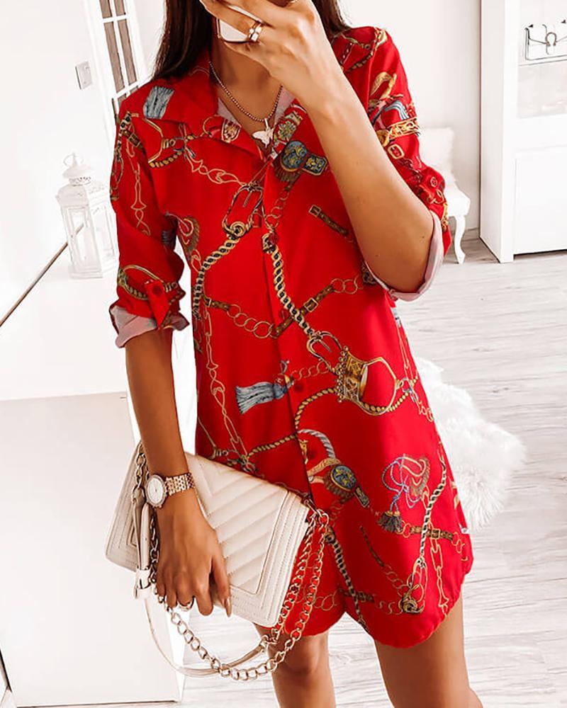 Chain Print Button Design Shirt Dress