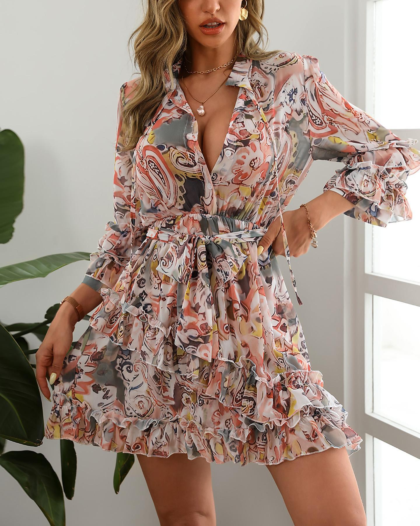 Floral Print Layered Ruffle Mini Dress