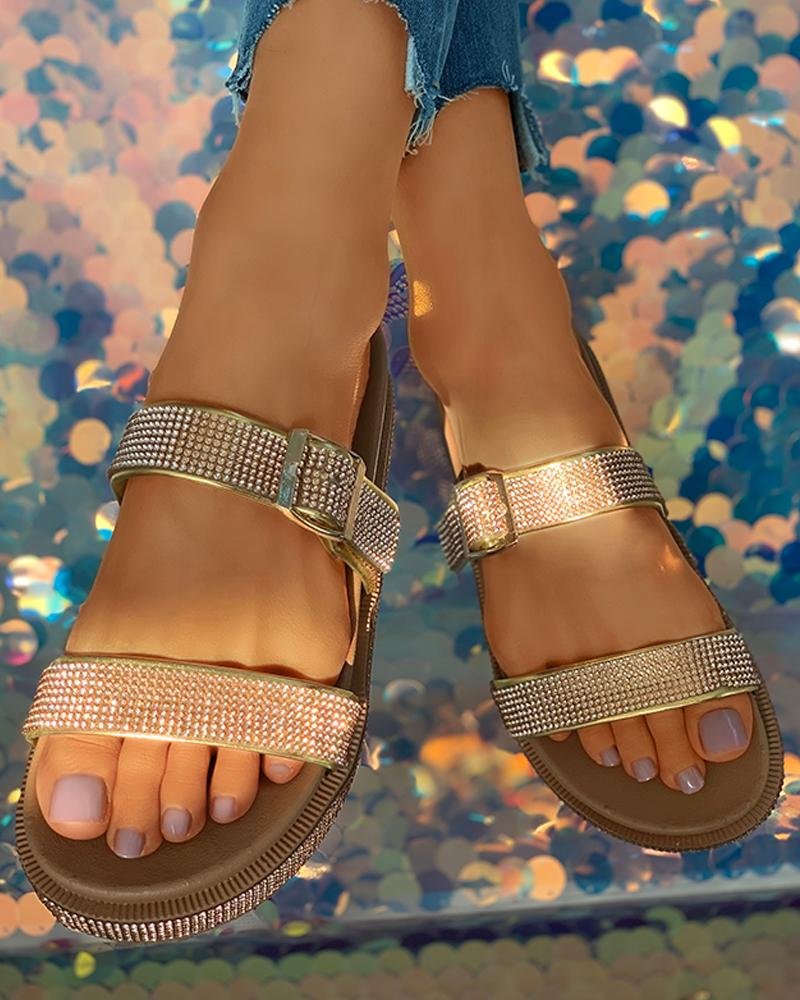 Rhinestone Buckled Open Toe Flat Sandals thumbnail