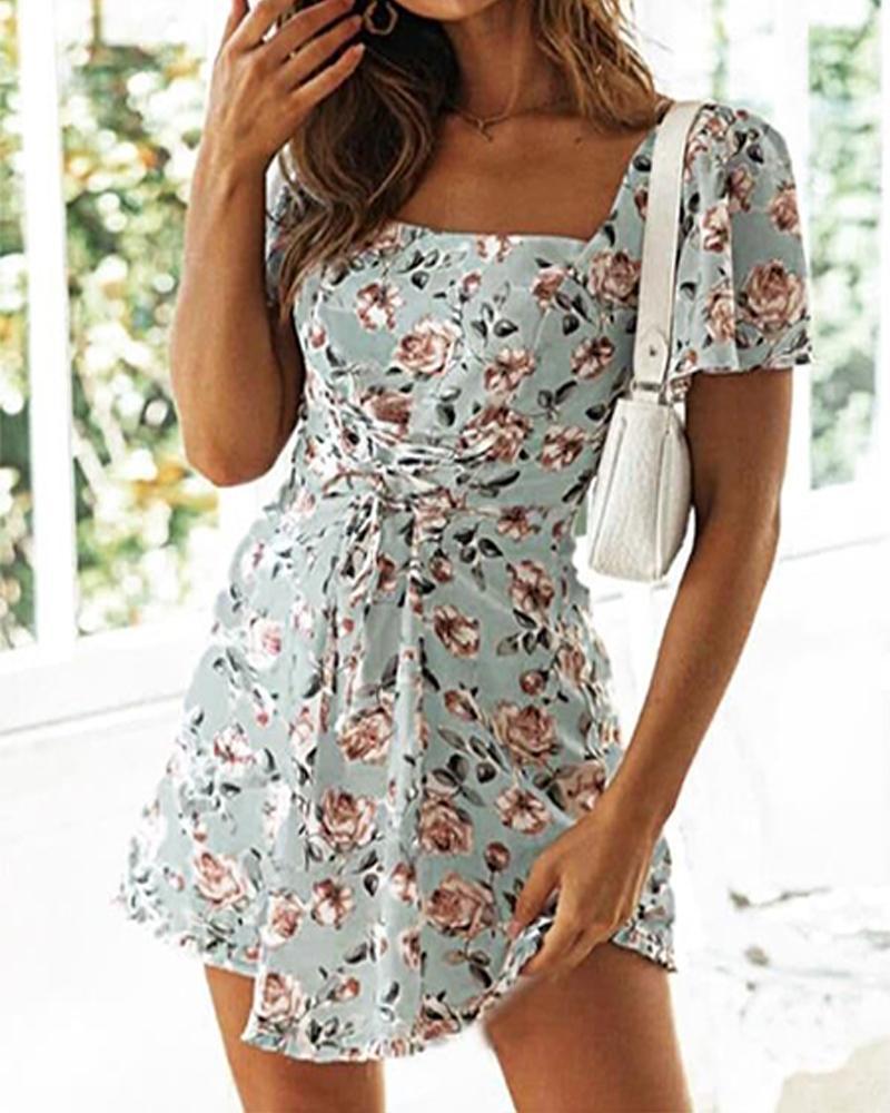 Floral Print Square Neck Mini Dress thumbnail