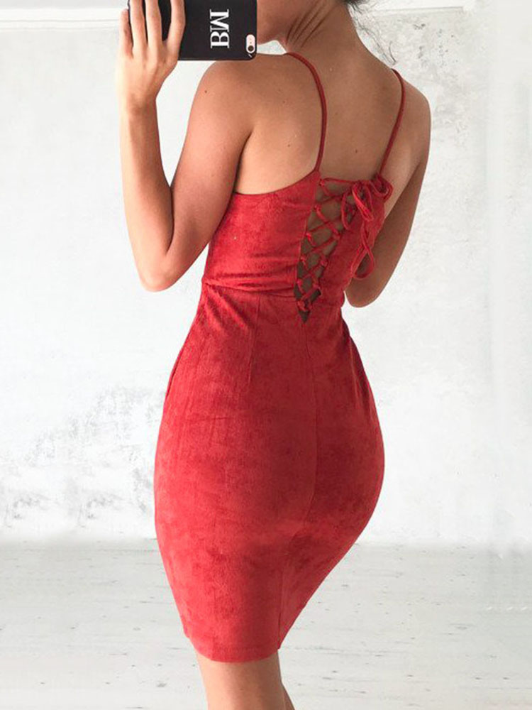 Vantage Back Criss Cross Sleeveless Bodycon Dress