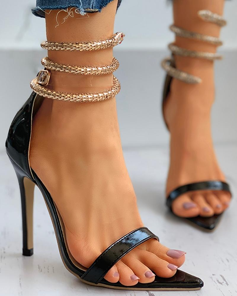 Snake Pattern Ankle Strap Heeled Sandals