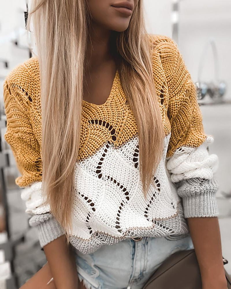 Colorblock Hollow Out Casual Knit Sweater thumbnail