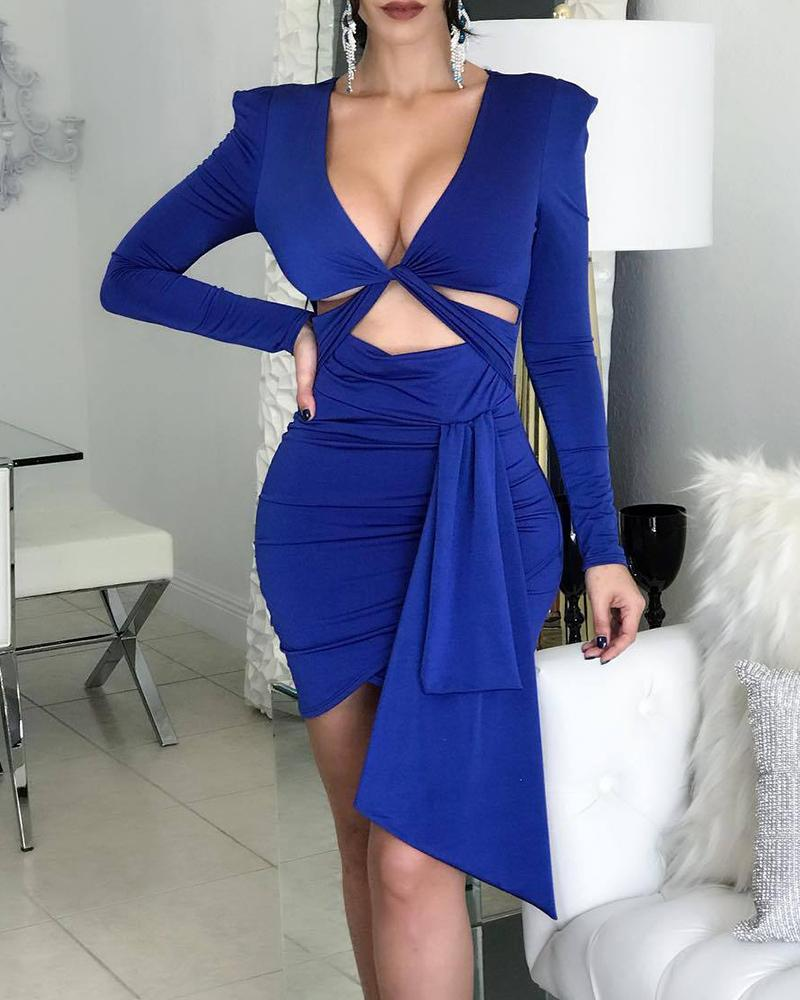 Solid Twisted Cut Out Design Bodycon Dress thumbnail