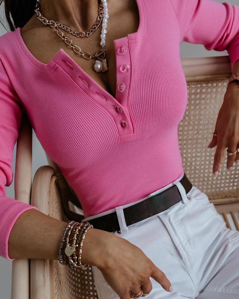 Ribbed Plain Button Design Long Sleeve T-shirt, Hot pink