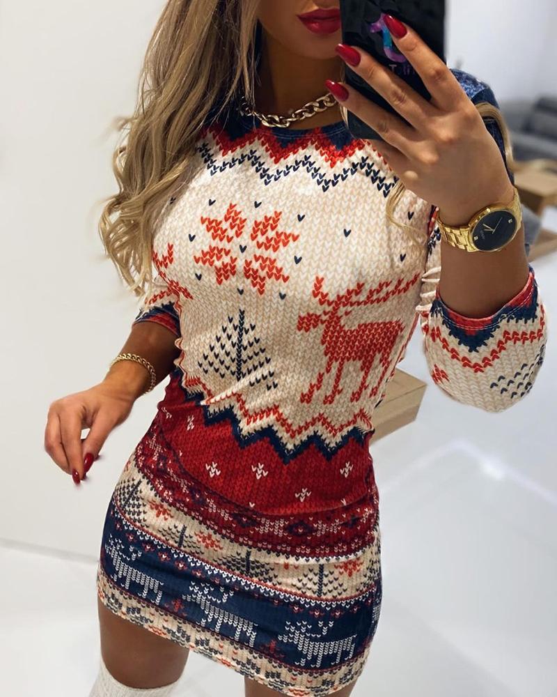 Christmas Print Long Sleeve Bodycon Dress