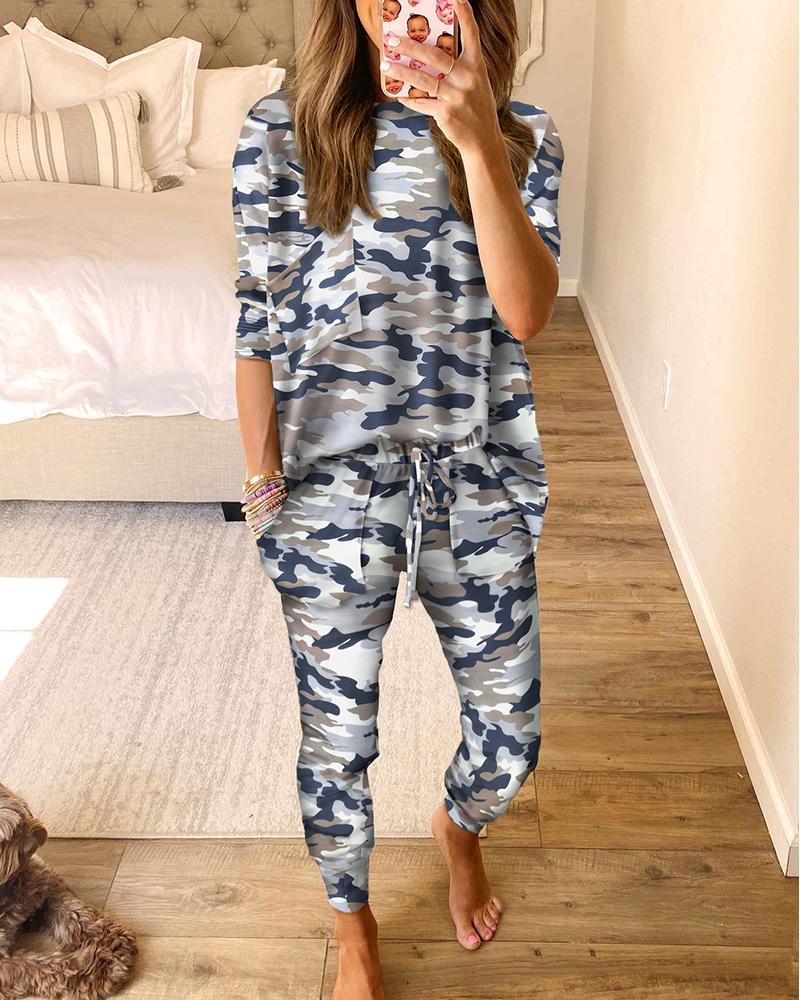 Camouflage Print Top & Drawstring Pants Set thumbnail