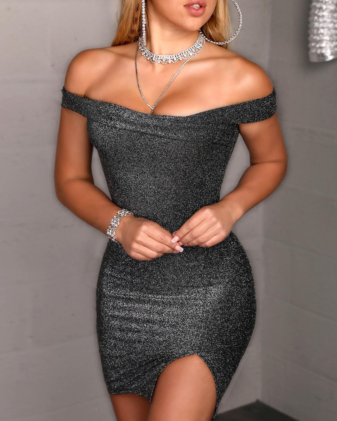 Glitter Off Shoulder Slit Bodycon Dress