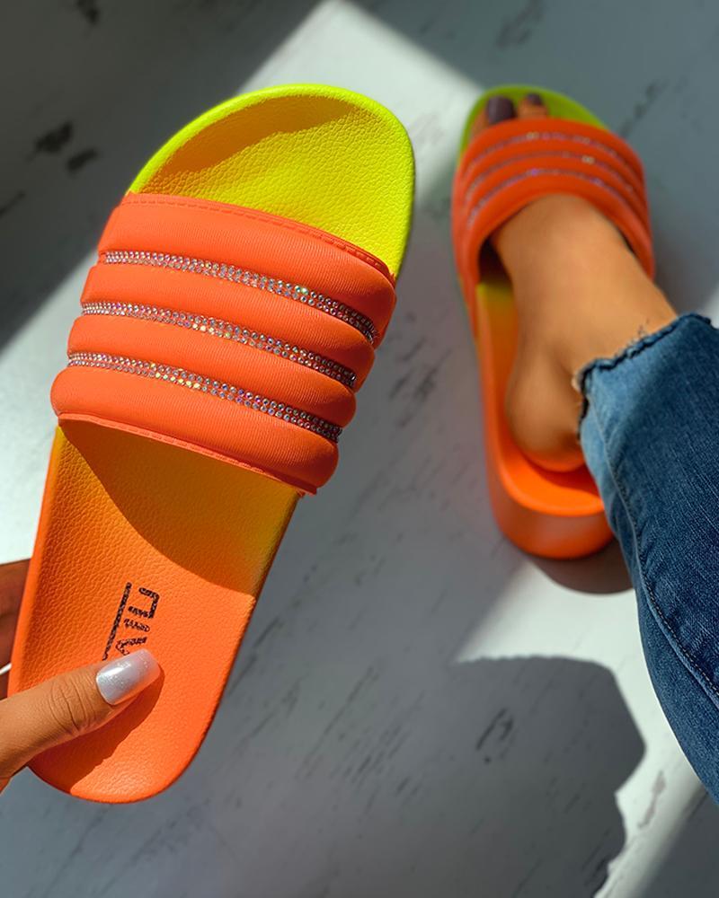 Colorblock Peep Toe Flatform Heeled Sandals thumbnail