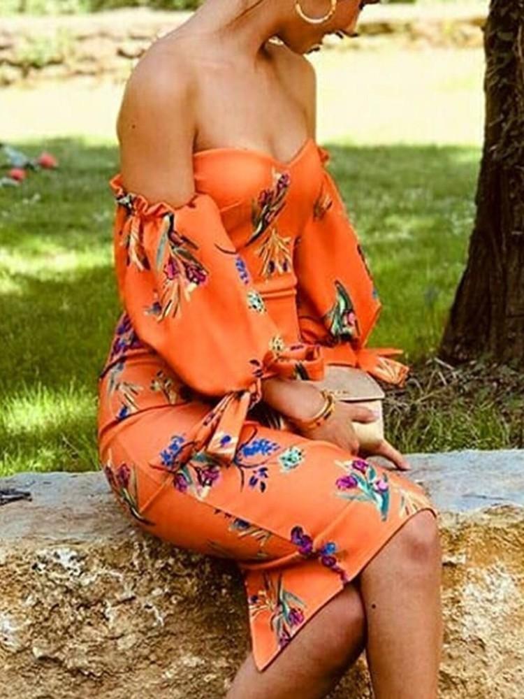 boutiquefeel / Floral Print Off Shoulder Lantern Sleeve Dress