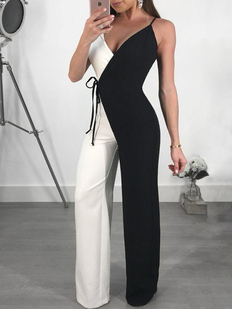 7c4cbeaf798 Contrast Color Spaghetti Strap Wrapped Wide Leg Jumpsuit Online. Discover  hottest trend fashion at chicme.com
