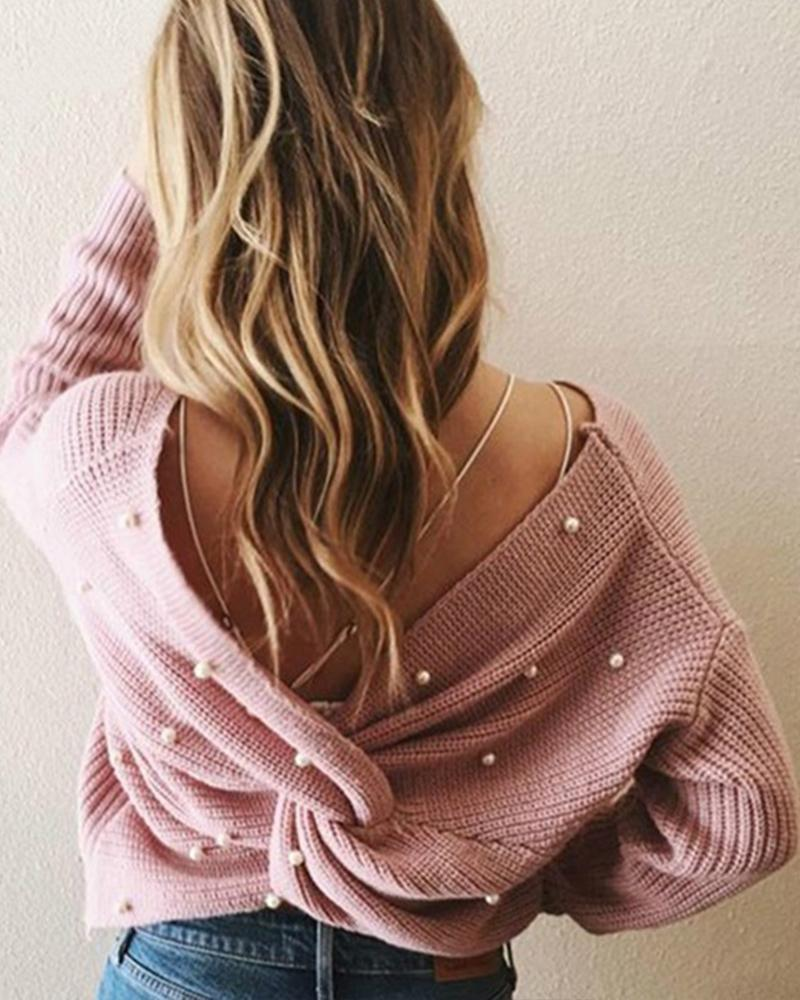 Fashion V-neck Backless Pearl Sweater thumbnail