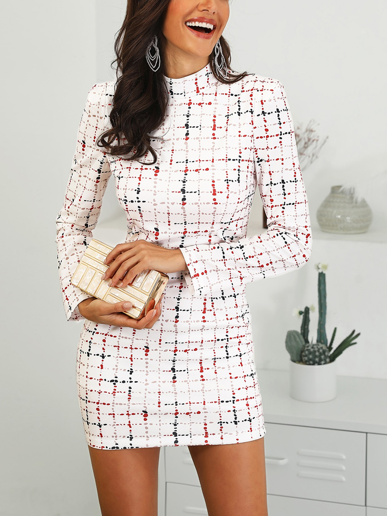 boutiquefeel / Colorful Plaid Mock Neck Work Dress