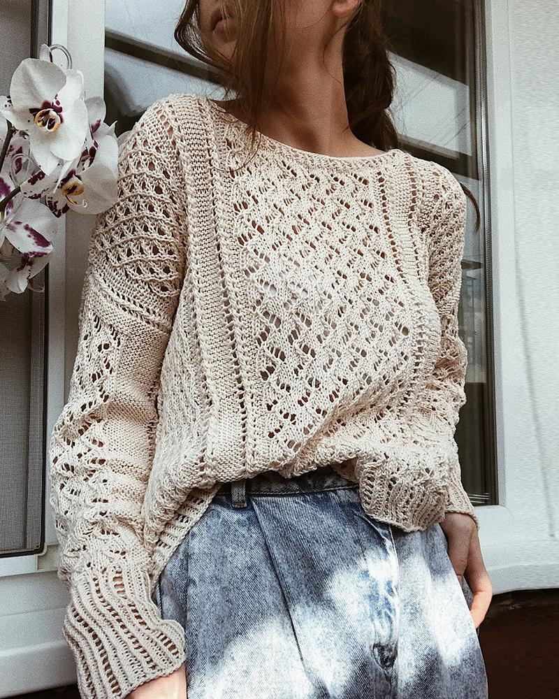 Solid Hollow Out Long Sleeve Knit Top thumbnail