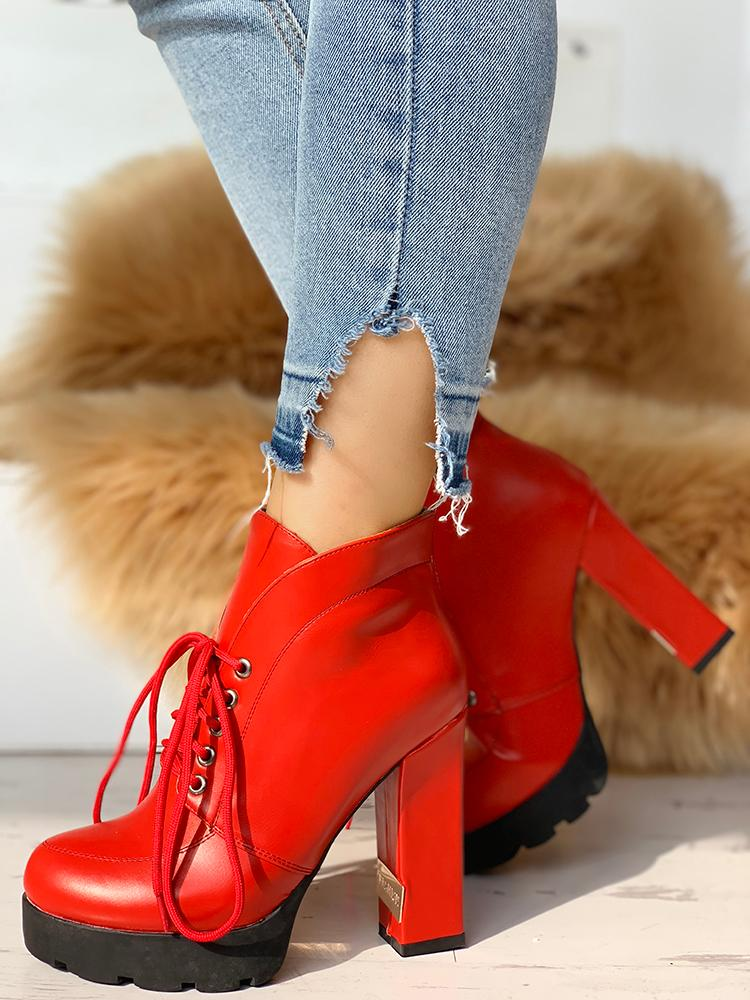 boutiquefeel / PU Platform Lace-Up Chunky Heeled Boots