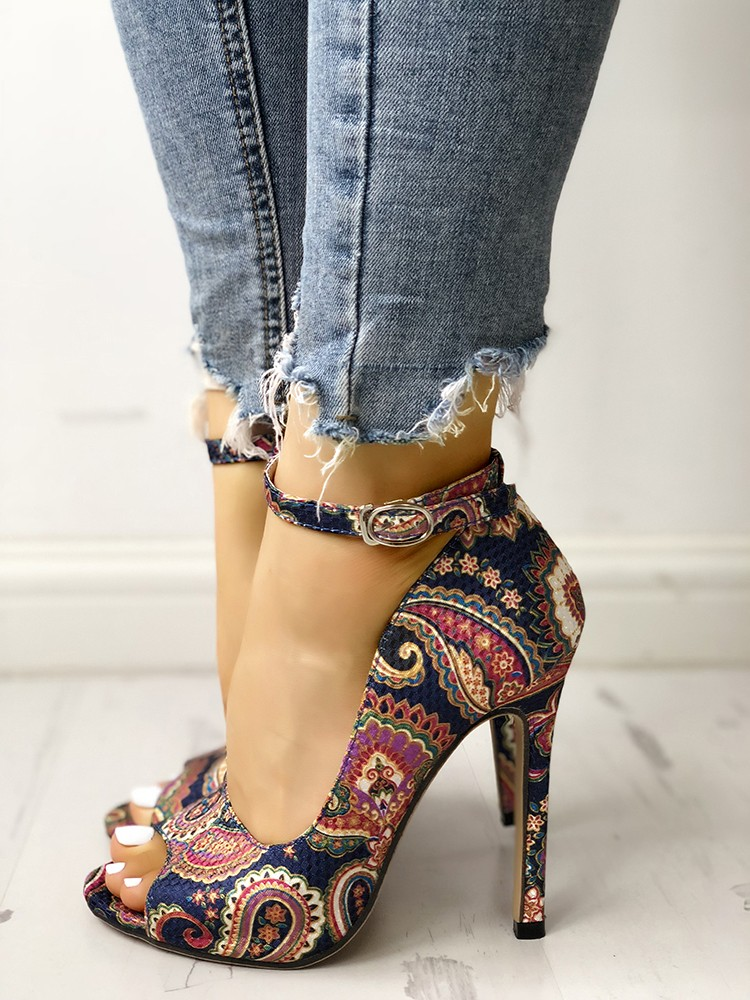 boutiquefeel / Ethnic Print Peep Toe Ankle Strap Thin Heeled Sandals