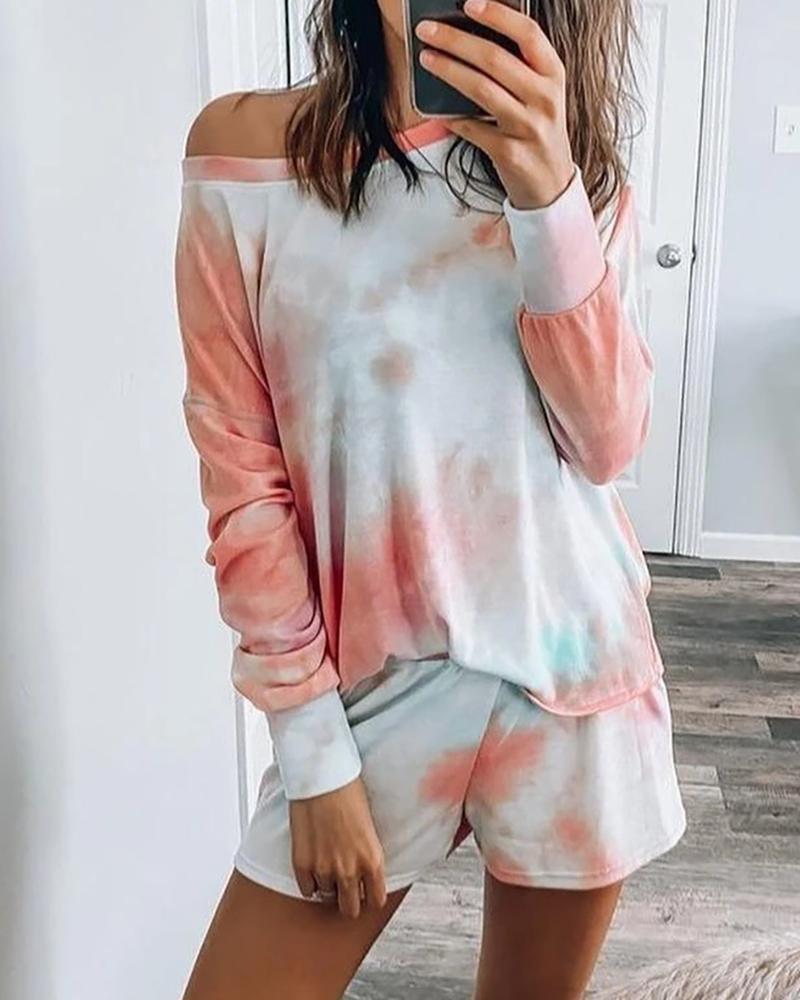 Long Sleeve Tie Dye Print Pajamas Set thumbnail
