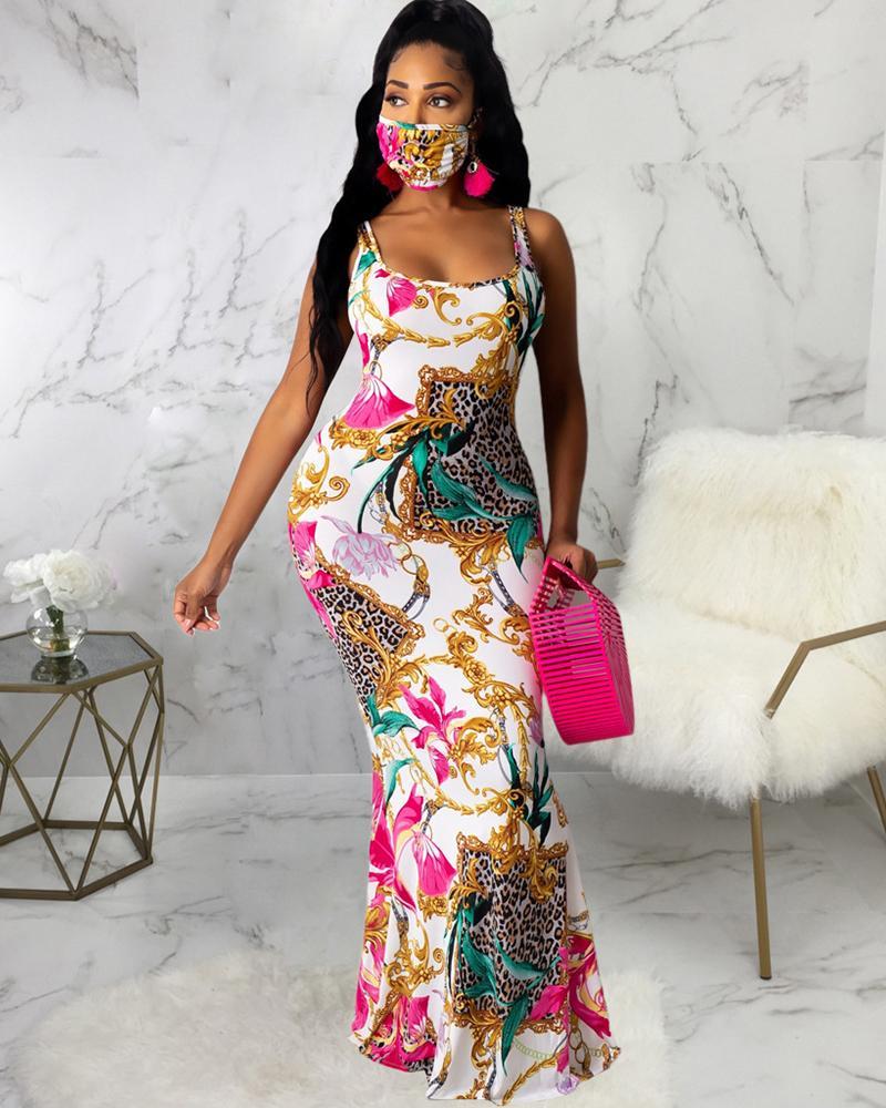 Mixed Print Thick Strap Maxi Dress thumbnail