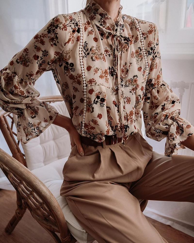 Tie Neck Floral Top thumbnail