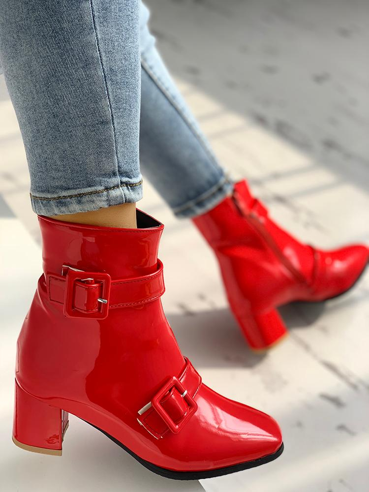boutiquefeel / PU Buckle Design Chunky Heeled Boots
