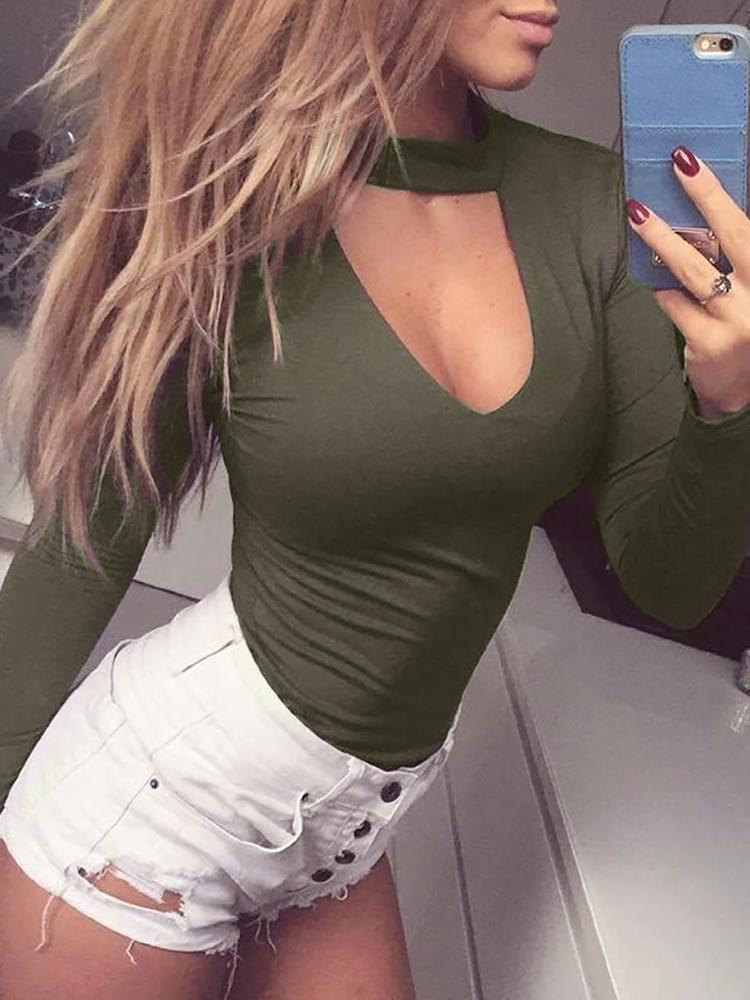 Women Sexy Long Sleeve Keyhole Design Choker Bodysuit Romper