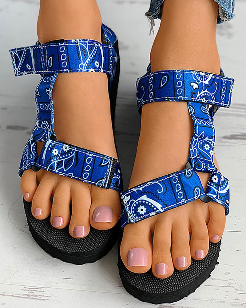 PaisleyPrint Velcro Slingback Platform Sandals thumbnail