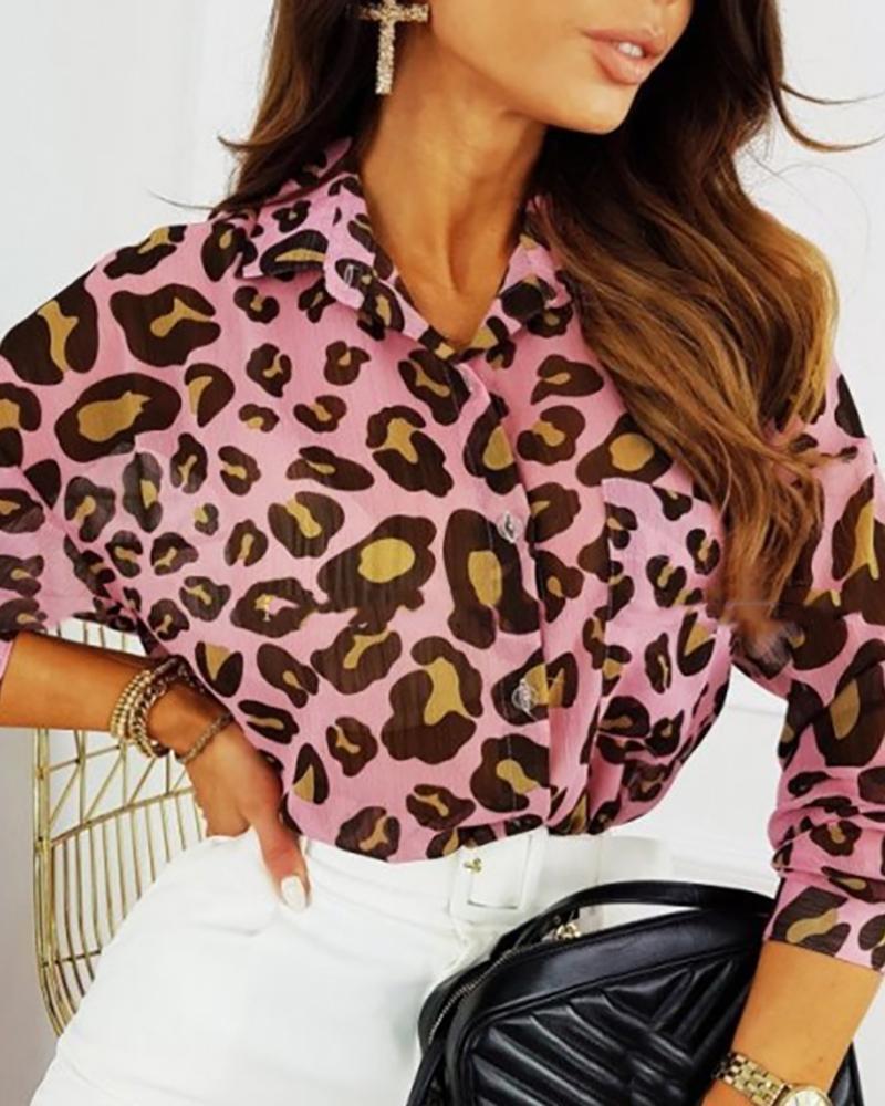 Cheetah Print Button Design Casual Shirt thumbnail