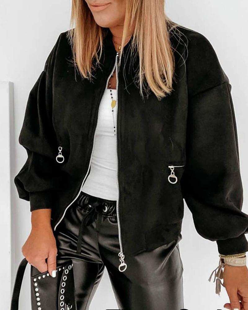 Zipper Pocket Design Long Sleeve Casual Jacket thumbnail