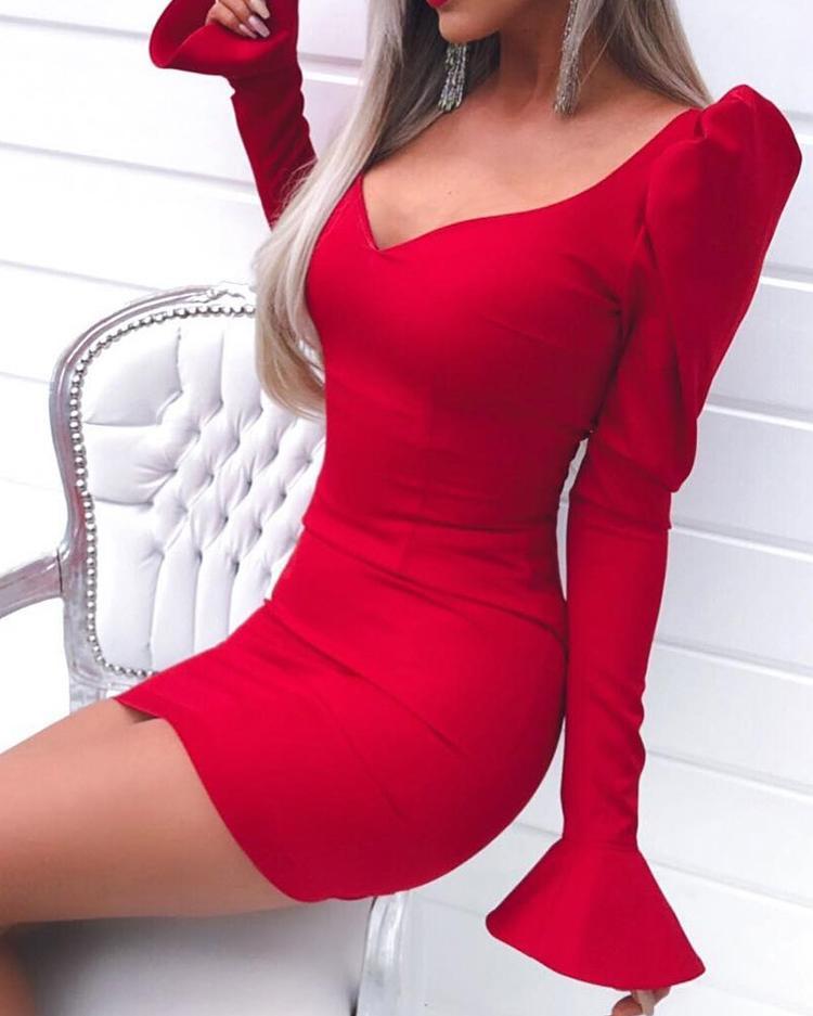 Puffed Sleeve Bell Cuff Bodycon Dress