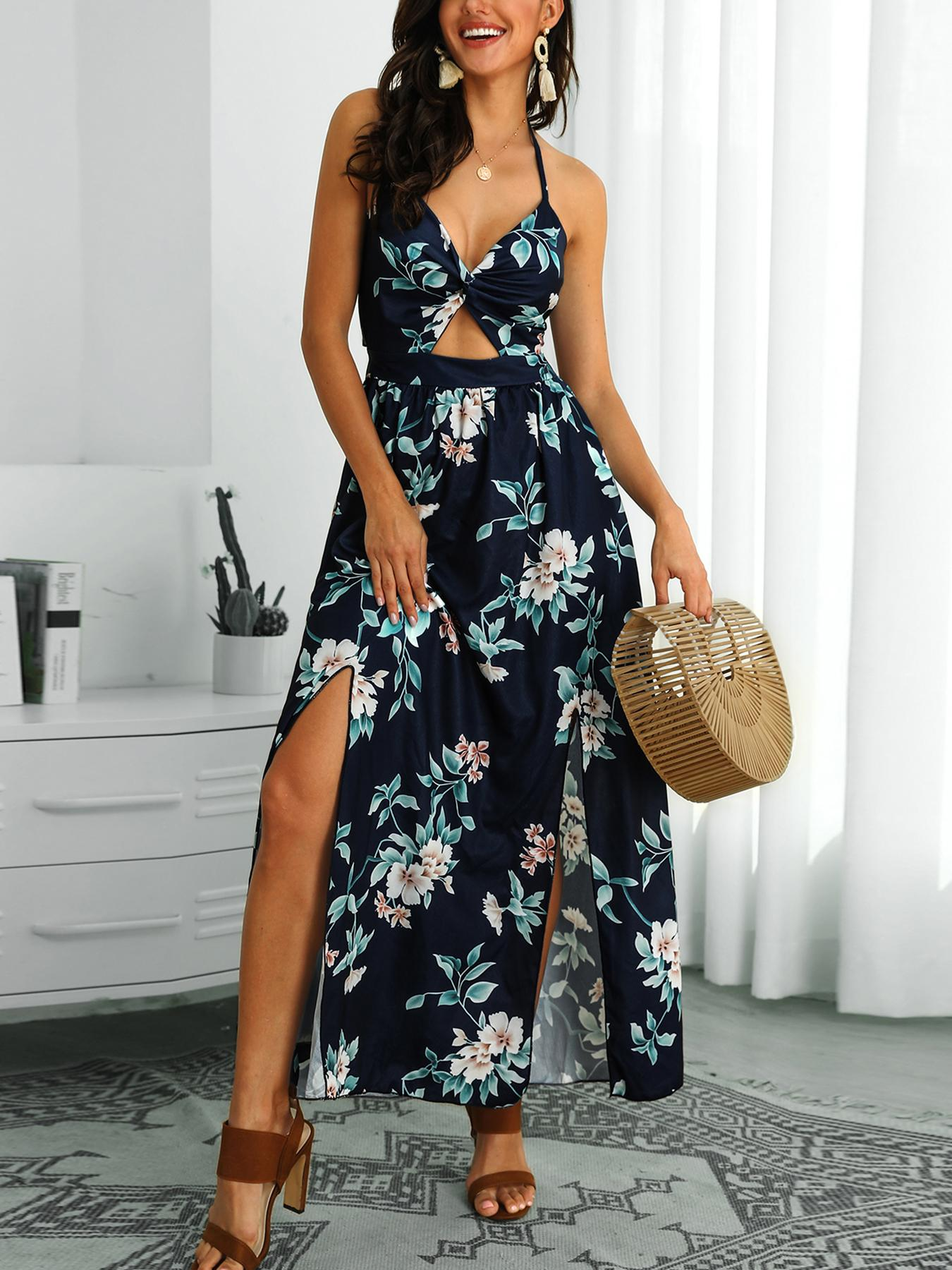Halter Floral Print Slit Maxi Dress